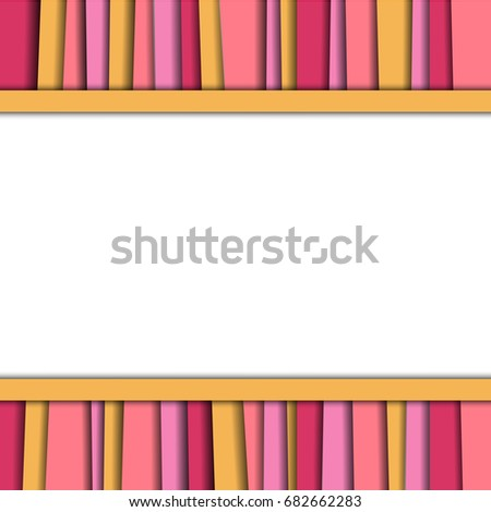 Abstract background, center white blank, colorful layer with shadow such pink and yellow, design template, texture vector