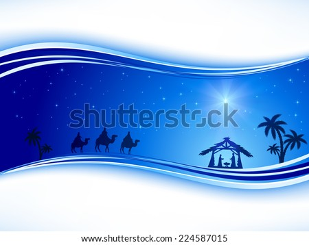 Abstract background, Christian Christmas scene with shining star on blue sky and birth of Jesus, illustration.