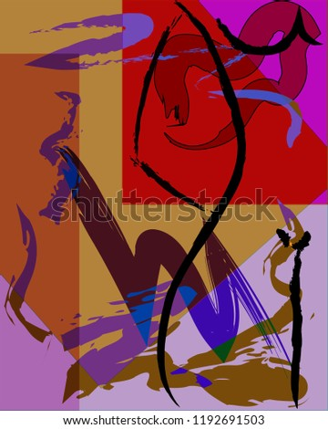 Abstract background composition with paint strokes, body and geometric figures