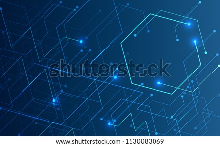 Abstract background concept linear and polygonal pattern shapes on dark blue background. Illustration Vector design digital technology.