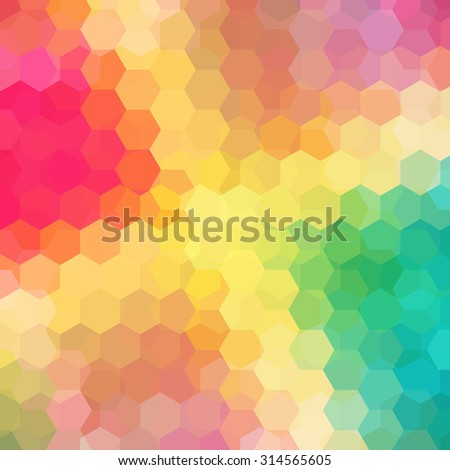 abstract background consisting of yellow, red, green hexagons, vector illustration