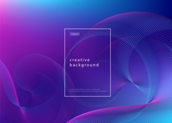 Abstract background design. Fluid flow gradient with geometric lines and light effect. Motion minimal concept. Vector illustration.