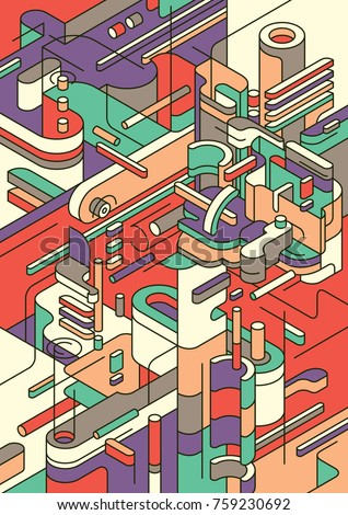 Abstract background design made of various isometric objects in colors. Vector illustration.