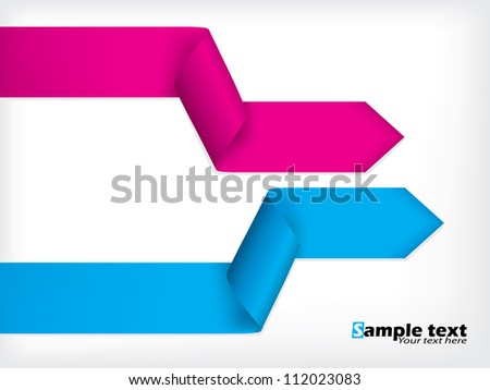 Abstract background design with colored bent ribbons - stock vector