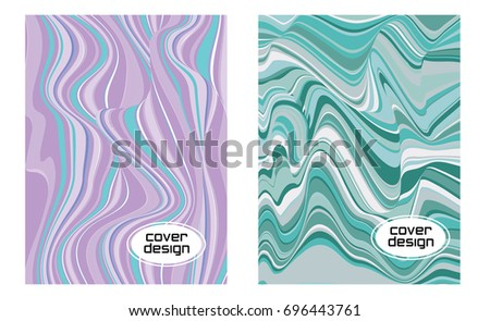 Abstract background design with spots of parallel curve lines. Corporate brochure, report cover, promotion booklet, presentation, banner, magazine page. Minimal cover design vector set.