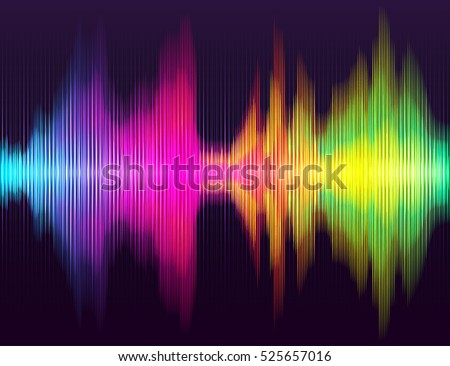 Abstract background. Digital energy sound music equalizer with colored rainbow lights backdrop. Good for poster, flyer, banner. Vector illustration.