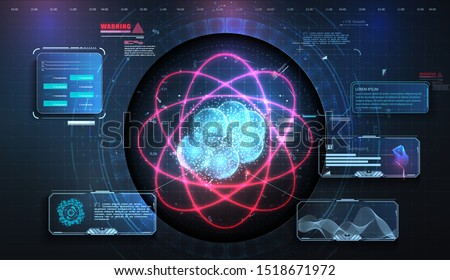 Abstract background. Elegant glowing circle. Light ring. Atoms and electrons. HUD, UI, GUI display work on project augmented reality. Futuristic 3D atom particle physics data analysis digital device.