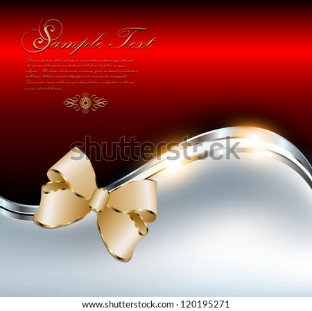 Abstract background elegant red with gold bow, vector.