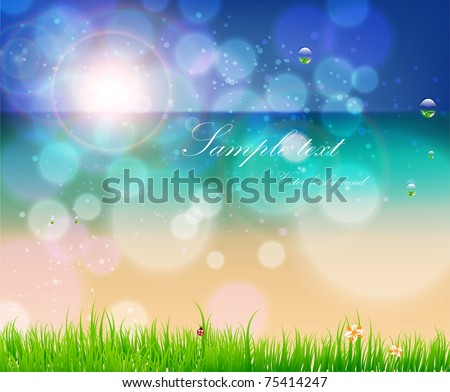 Abstract background for design. Beach with grass, flower, water drops and ladybird. Free place for text. Eps 10.