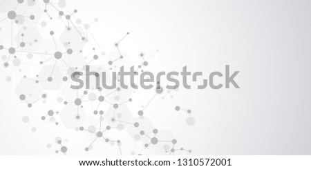 Abstract background for medical, scientific and technological modern design. Abstract geometric texture with molecular structures and neural network. Molecules DNA and genetic research