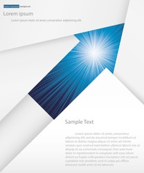 abstract background for sample text with burst in arrow space: white&blue