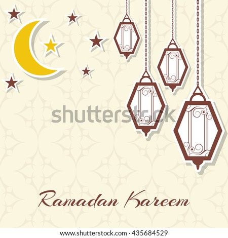 Abstract background for the celebration of the Islamic holiday of Ramadan Kareem. Decorative crescent with stars and lamps. It can be used as greeting cards, posters, banners. Vector illustration.     #435684529