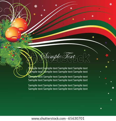 Abstract background for the holiday and Christmas tree branches and balls. Vector.