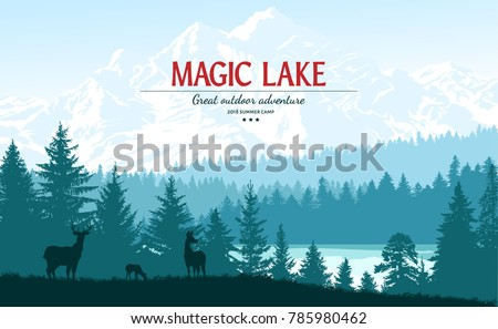 Abstract background. Forest wilderness landscape. Deer family silhouettes. Template for your design works. Hand drawn vector illustration.