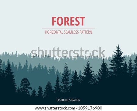 Abstract background. Forest wilderness landscape. Horizontal seamless pattern.  Template for your design works. Hand drawn vector illustration.