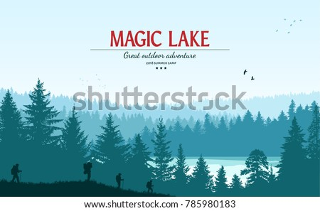 Abstract background. Forest wilderness landscape. People with backpacks silhouettes. Template for your design works. Hand drawn vector illustration.