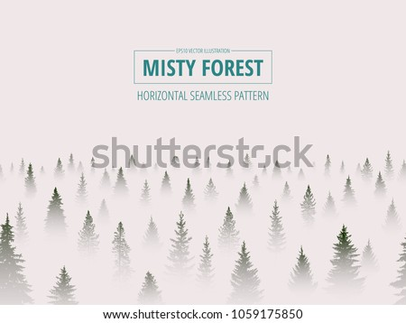 Abstract background. Forest wilderness landscape. Trees in the fog. Horizontal seamless pattern. Template for your design works. Hand drawn vector illustration.