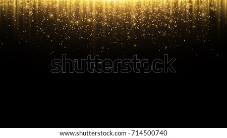 Abstract background. Golden rays of light with luminous magical dust. Glow in the dark. Flying particles of light. Vector illustration