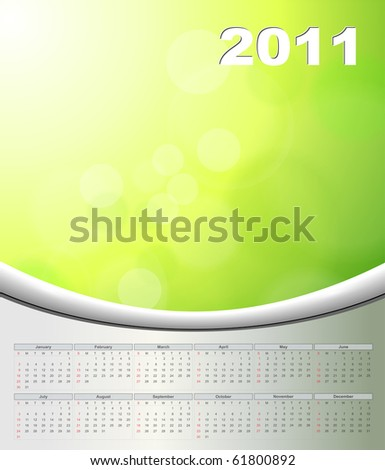 Abstract background green with 2011 calendar, vector.