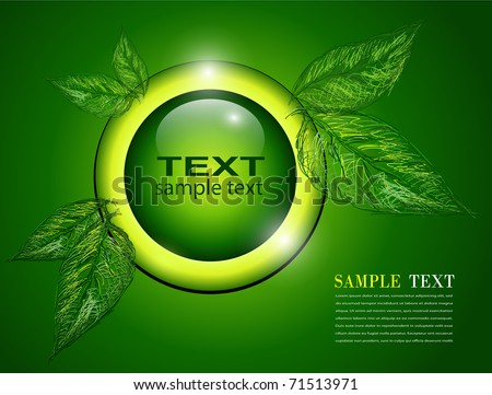 Abstract background green with leaves, vector.