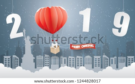 abstract background happy new year and merry christmas with couple in red balloon on the sky