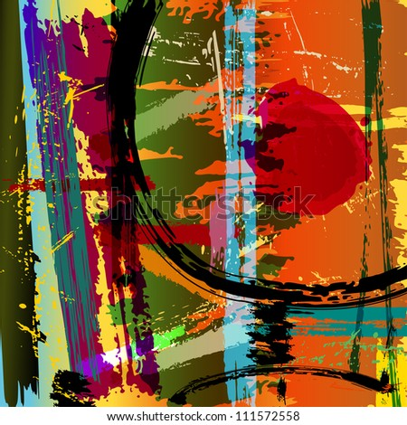 abstract background illustration, paint strokes and splashes - stock vector