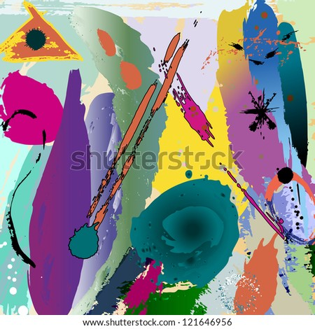 abstract background illustration, with paint strokes and splashes - stock vector