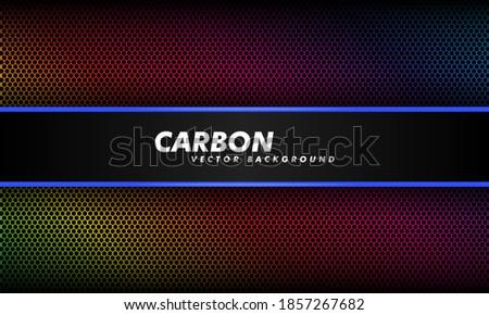 Abstract background in dark color gradient and black carbon fiber. Vector illustration. Modern tech design carbon background.