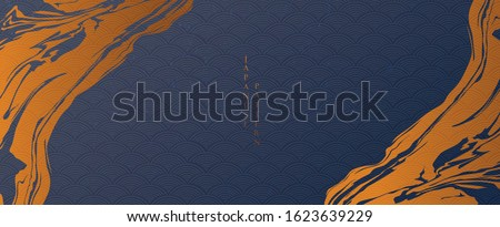 Abstract background in oriental style. Brush stroke banner. Geometric line with Japanese pattern vector. Wavy shapes in oriental template. Blue gradient wallpaper in vintage style.