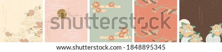 Abstract background in oriental style. Chinese new year banner. Geometric line with Japanese pattern vector. Peony flower and wavy object.