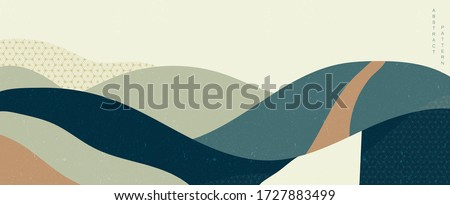 Abstract background in oriental style. Natural elements banner. Geometric pattern with Japanese style vector. Art landscape template. Mountainous forest layout design.