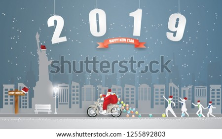 abstract background merry christmas and happy new year with santa claus riding motorcycle on the gray