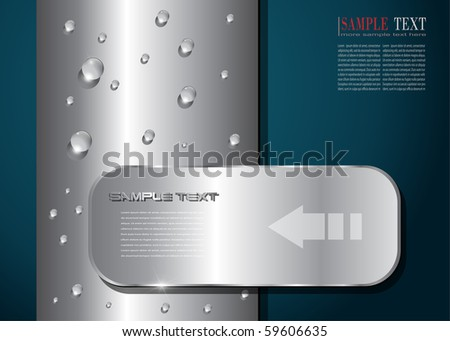 abstract background metallic with water drops, vector.