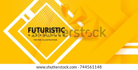 Abstract background modern hipster futuristic graphic. Yellow background with white stripes. Vector illustration.