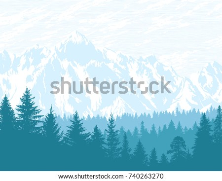 Abstract background. Mountains and forest wilderness landscape. Template for your design works. Hand drawn vector illustration.