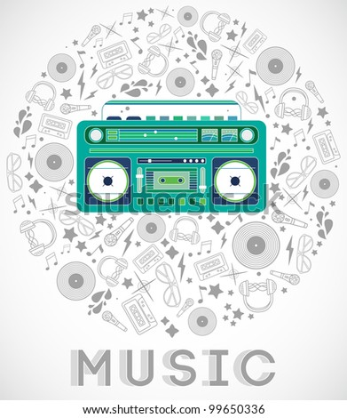 Abstract background music, with tape recorder, silhouette in circle shape. Vector