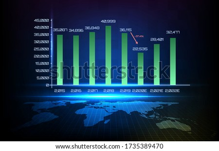 Abstract background of blue graph year by year and world map stock photo