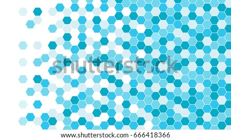 Abstract background of blue hexagons, vector design.