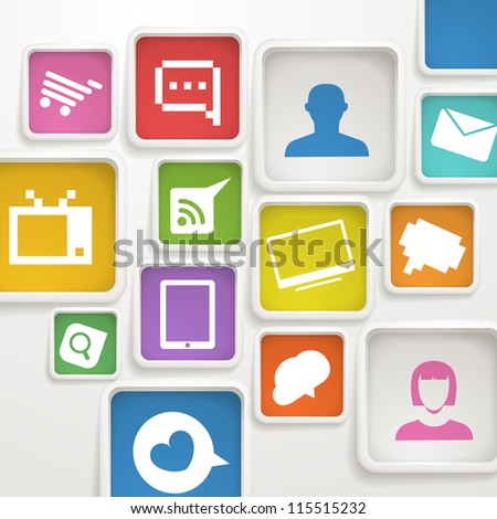 Abstract background of color boxes with media icons