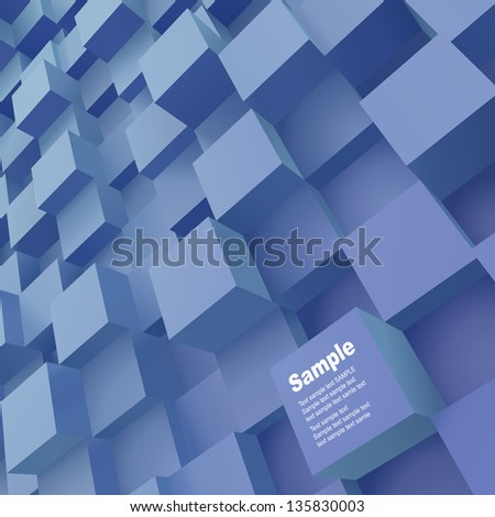 Abstract background of 3d blocks. Vector illustration.