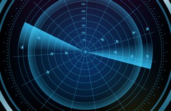 abstract background of futuristic technology screen scan flight radar airplane route path with scan interface hud