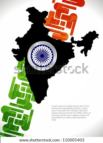 Abstract background of india map with flag design.