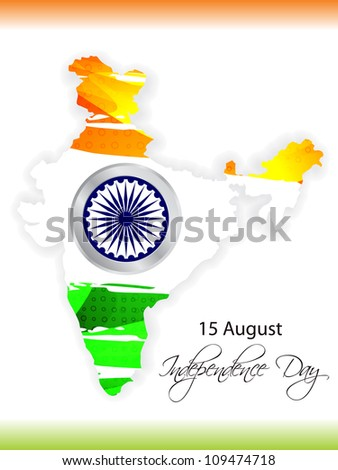 Abstract background of india map with flag design. vector illustration