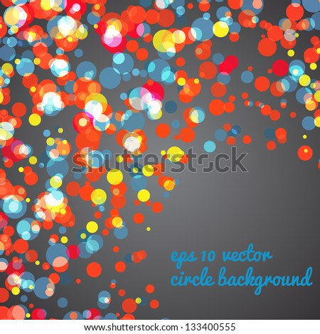 Abstract background of many circles with place for yout text in corner. Many colored circles can be used for business presentation, postcrads, messages, web design.