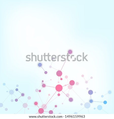 Abstract background of molecular structures. Molecules or DNA strand, genetic engineering, neural network, innovation technology, scientific research. Technological, science and medicine concept.