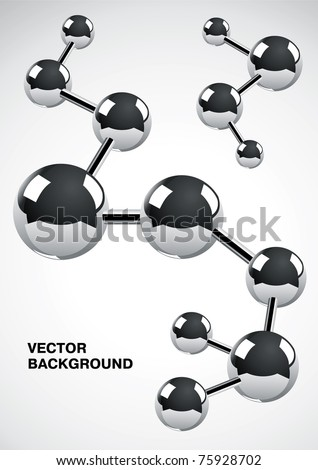 Abstract background of several interconnected metal atoms