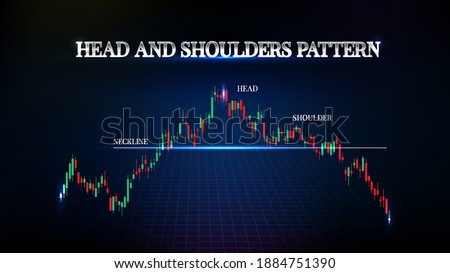 abstract background of stock market head and shoulders price pattern with candle stick graph Photo stock ©