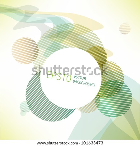 abstract background of the green circles - stock vector