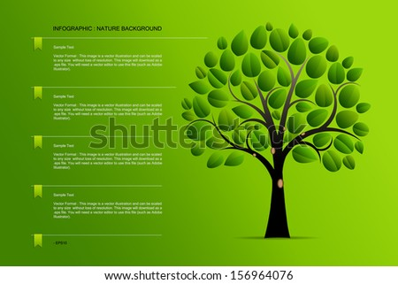 Abstract background of tree infographics on green background  - Vector illustration