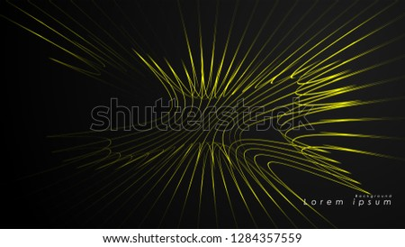 Abstract background of wavy futuristic yellow lines. The yellow line forms the background of the abstract vector #1284357559